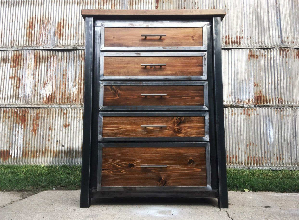Industrial Dresser Steel Metal Frame Wood Inlay Modern