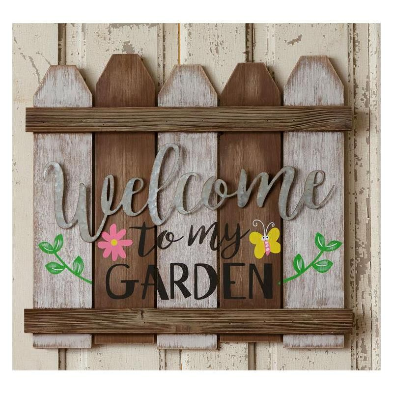 Welcome To My Garden Fence Sign 51gr1608 Baubles N Bling Fence Signs Garden Signs Diy Garden Crafts Diy