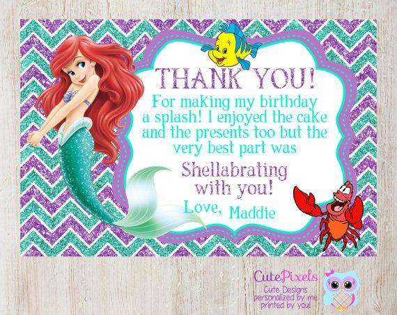 Little Mermaid Thank You Card Disney Little Mermaid Ariel Thank You Card Little Mermaid Birt Little Mermaid Birthday Mermaid Birthday Little Mermaid Parties
