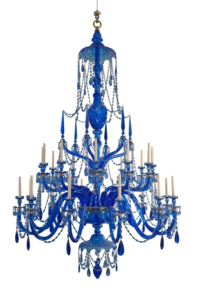 24 Light Adam Chandelier In Blue Lead Crystal Blue Chandelier