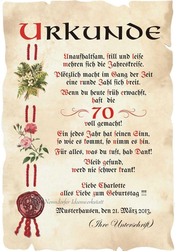 Details Zu Urkunde 70 Geburtstag Din A4 G2 Geburtstag Gedicht