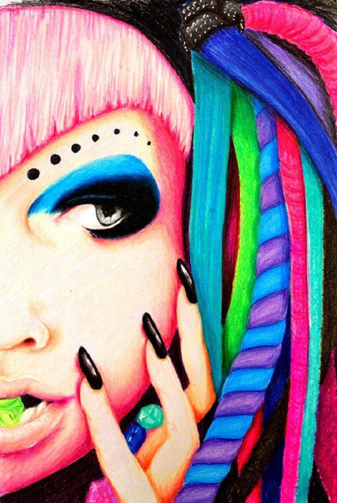 Cyber Goth by Stephanie Zahalka Rave Girl Tattoo Canvas Art Print – moodswingsonthenet