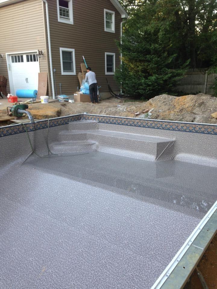 Santa Cruz Sandstone Vinyl Liner Installed In New Pool