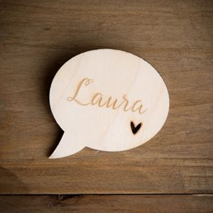 Show details for Personalised Wooden Speech Bubble name badge
