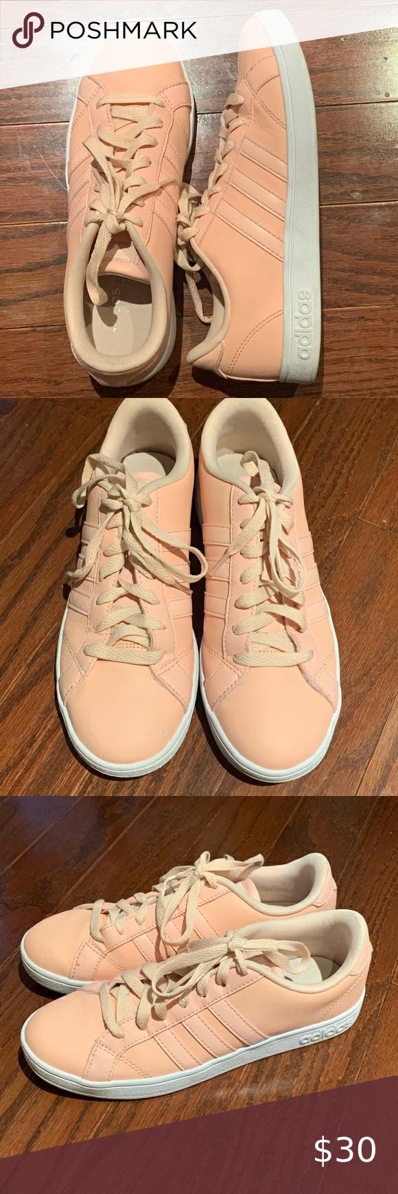 Size 7 Women's Adidas Neo Baseline Pink Sneaker   Pink sneakers ...