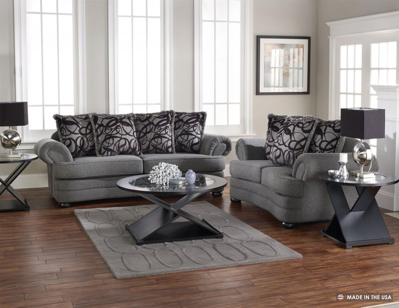 Wonderful Living Room Design With Grey Sofa Set And Cushion Patterned  Also Unique Round Coffee