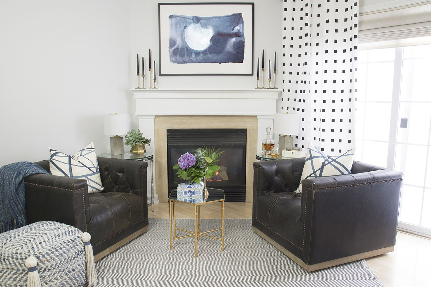 Fireplace Area Makeover Reveal | Leather swivel chair, Metal accents ...