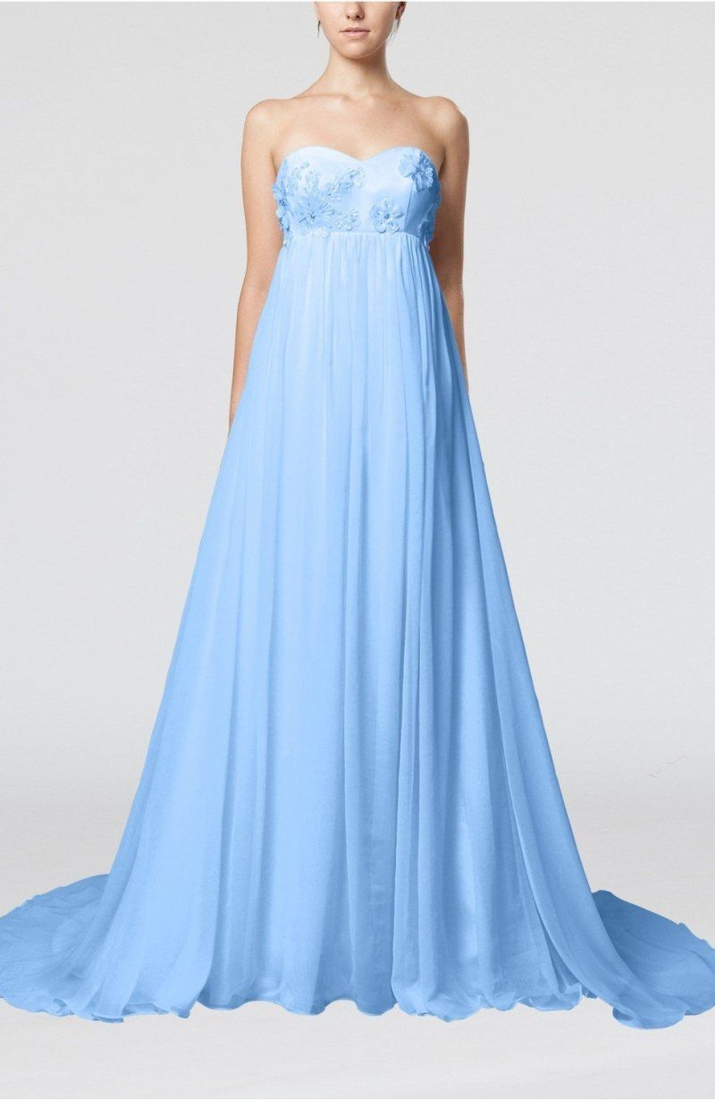 Light blue bridal gown cinderella outdoor empire backless chiffon