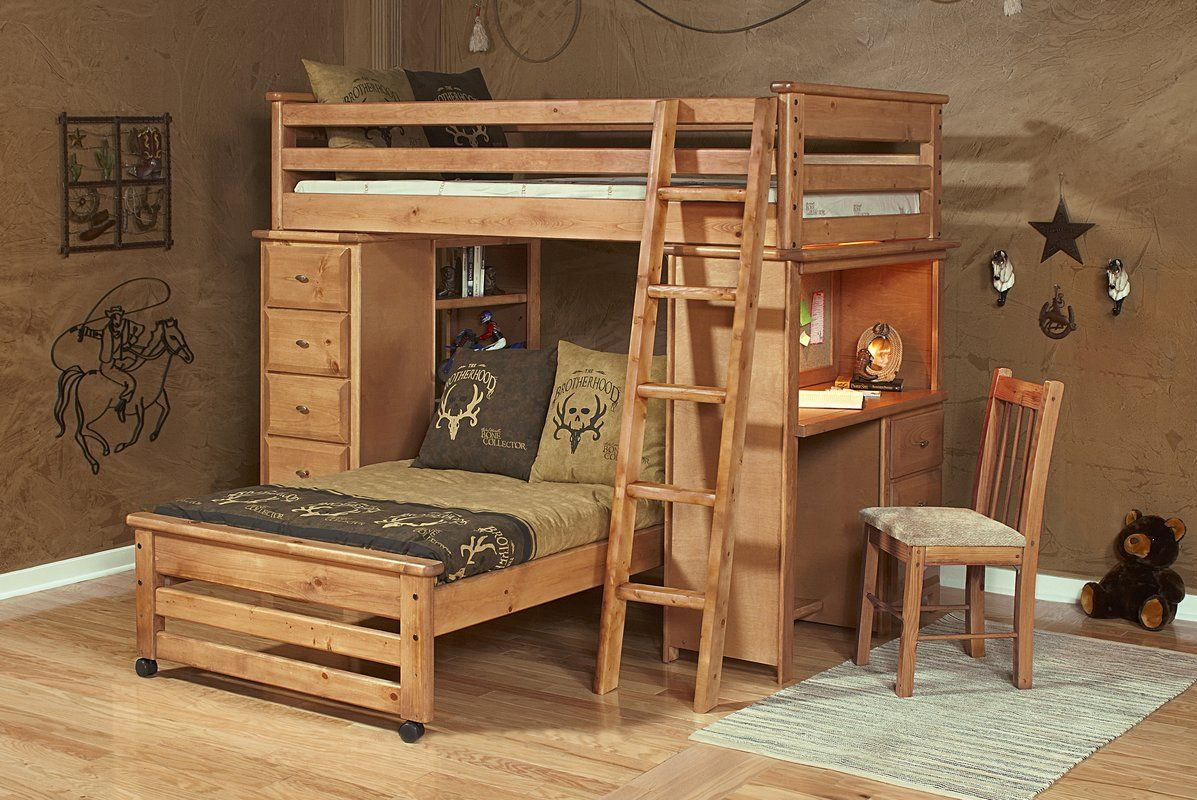 Coffey Twin Over Twin L Shaped Bunk Beds With Chest And Desk Ends
