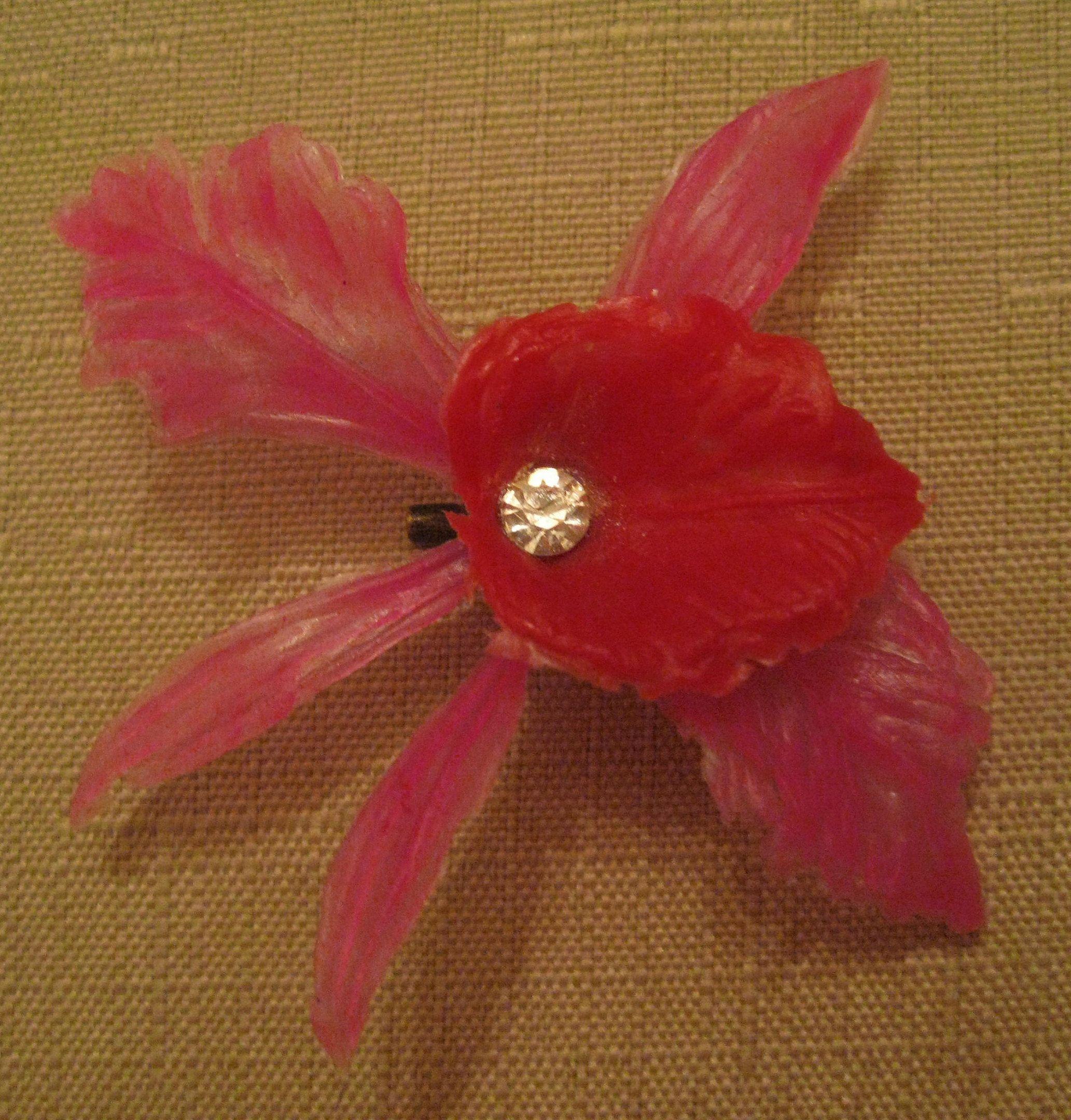 Rhinestone plastic orchid flower brooch vintage us accessories
