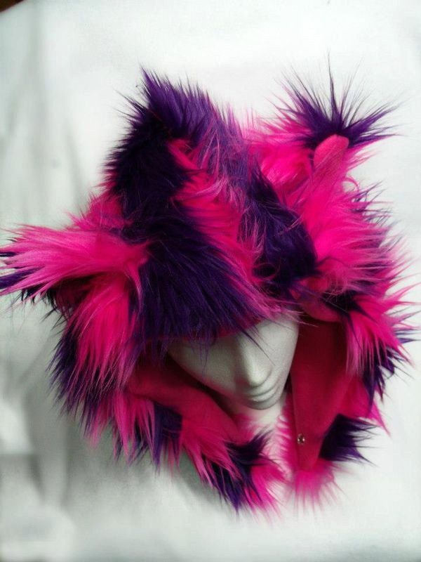 Reversible Furry Cheshire Cat Hat with Ears Pink and Purple. $50.00, via Etsy.