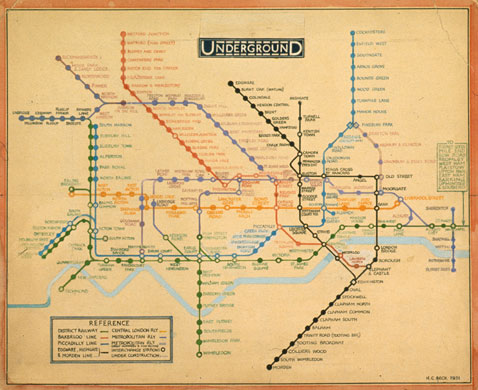 henry becks original drawing for the diagrammatic tube map 1931 which