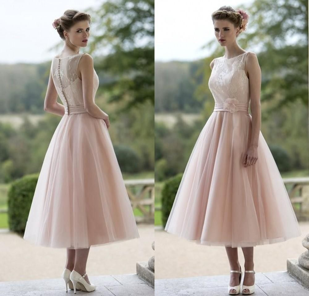 $116-Cheap Country Western Vintage Lace Tea Length Blush Pink ...