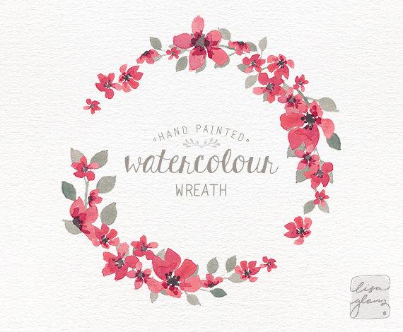 Watercolor wreath: floral wreath clipart / Wedding invitation clip ...