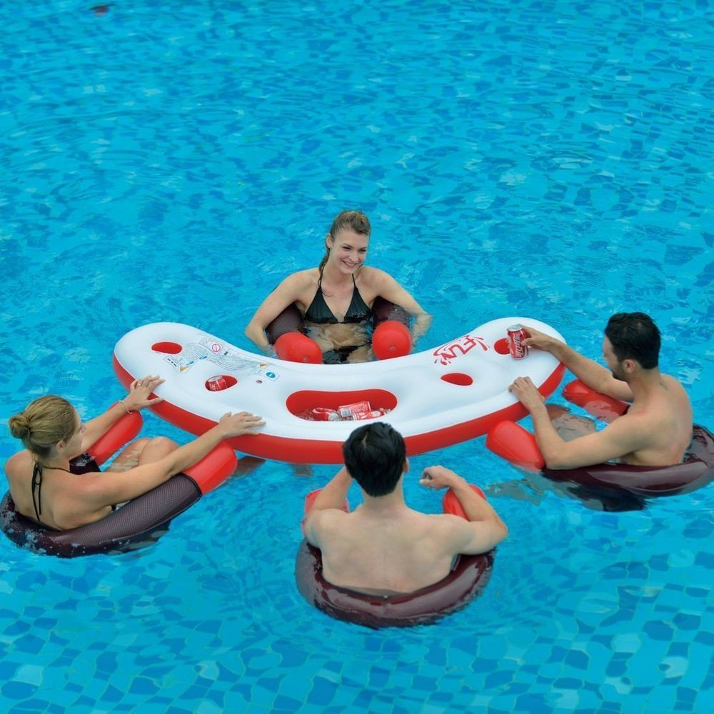 Inflatable Water Bar Pool Set 4 Floating Seats Chairs Party Table