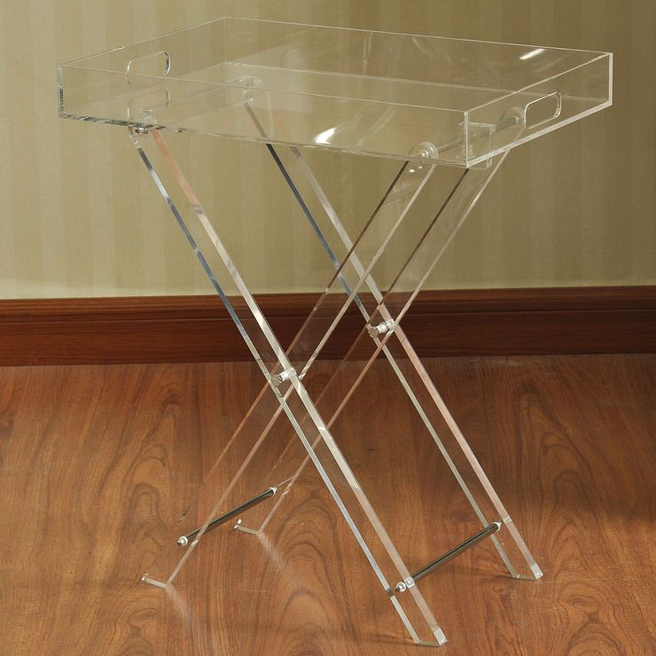 folding clear acrylic table 19 x 23 in - Cb2 Element Couchtisch