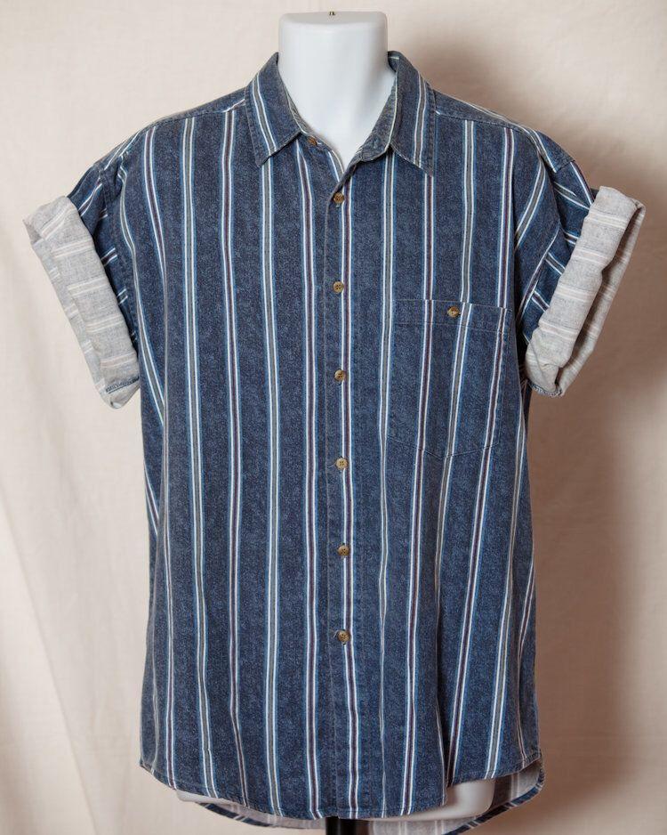 77c61b54 Mens Vintage 80s 90s Short Sleeve Button Shirt Vertical Stripe = BLAZER  FIRENZE - L by