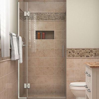 """DreamLine Unidoor-X 30"""" x 72"""" Hinged Shower Door Trim Finish: Brushed Nickel"""