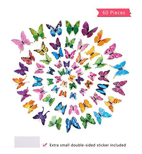 Surneow 60 Pcs 3d Butterfly Refrigerator Magnet Wall Decals