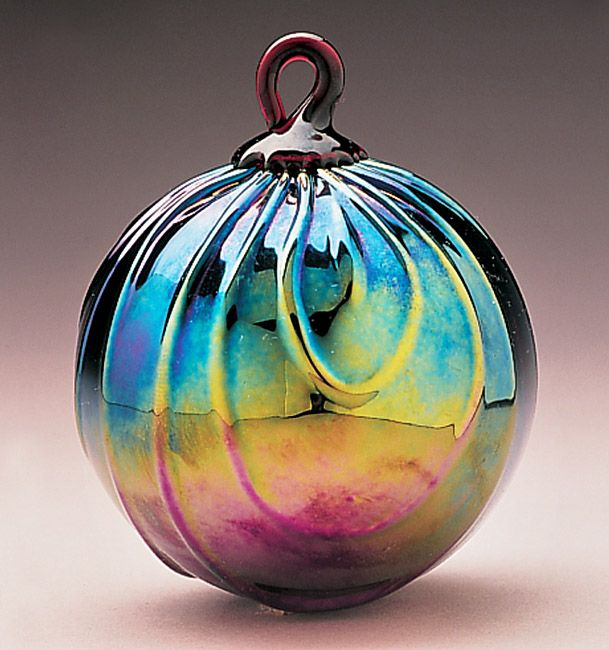 New Glass Eye Studio Clear Glass Blown Ornament White Feathers