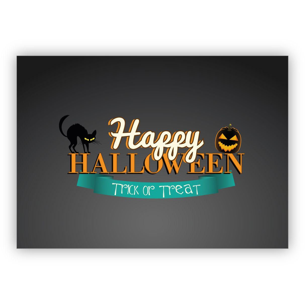 Happy Halloween Karte mit schwarzen Katzen: Happy Halloween Trick or Treat 1