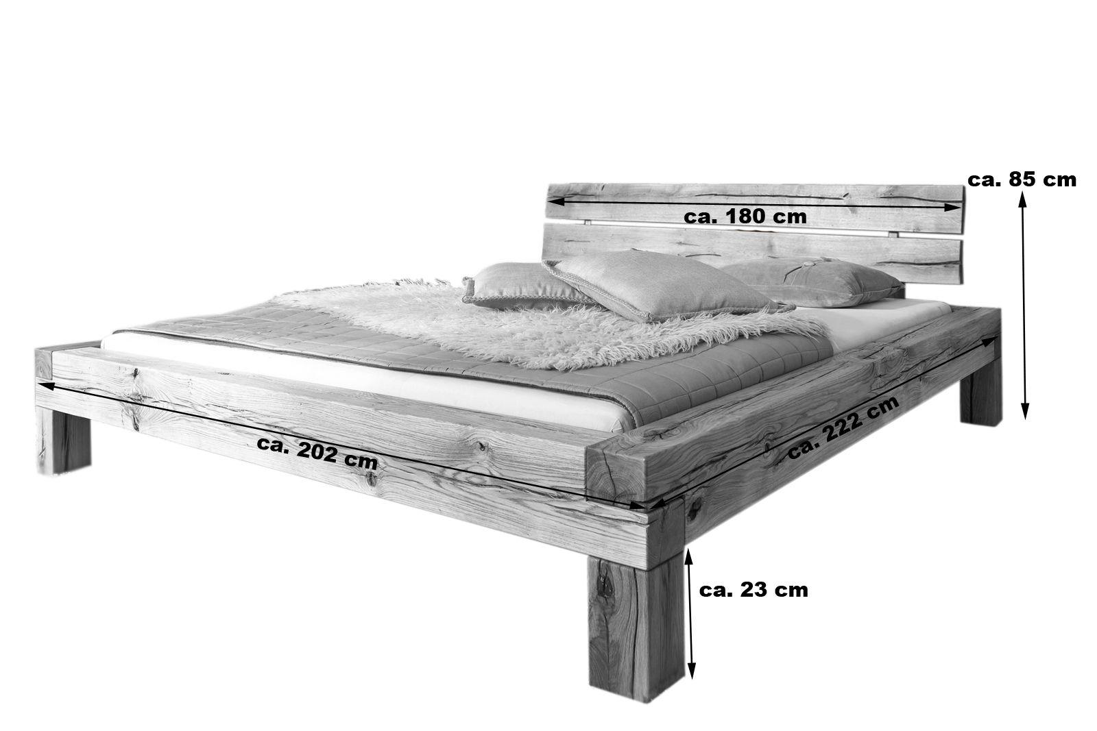 SAM® Balkenbett Wildeiche massiv 180 x 200 Massivholzbett