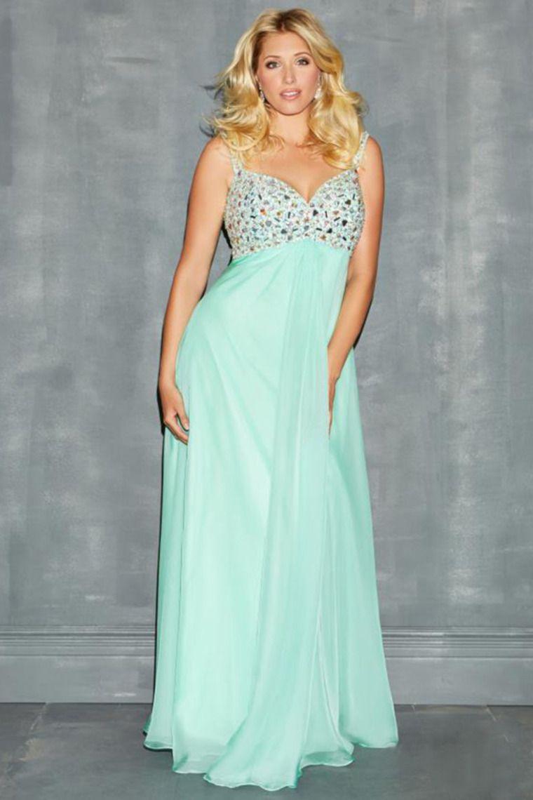 2014 Plus Size Straps Straps Beaded Bodice Prom Dress Chiffon With ...