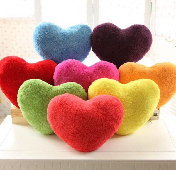 Taobao Plush Toys Games Wholesale Special Candy Colored Love Heart Shaped Pillow Cushion Velvet Decor Pillows Cushions On Sofa