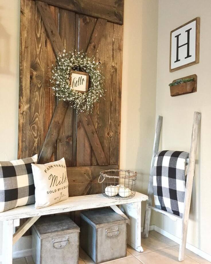 45 Charming Farmhouse Wall Decor Ideas To Add Some Rustic Flair To Your Blank Walls Farm House Living Room Farmhouse Interior Design Barn Door Decor