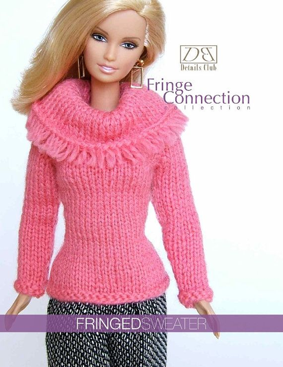 Knitting Pattern For 11 12 Doll Barbie Fringed Sweater Doll
