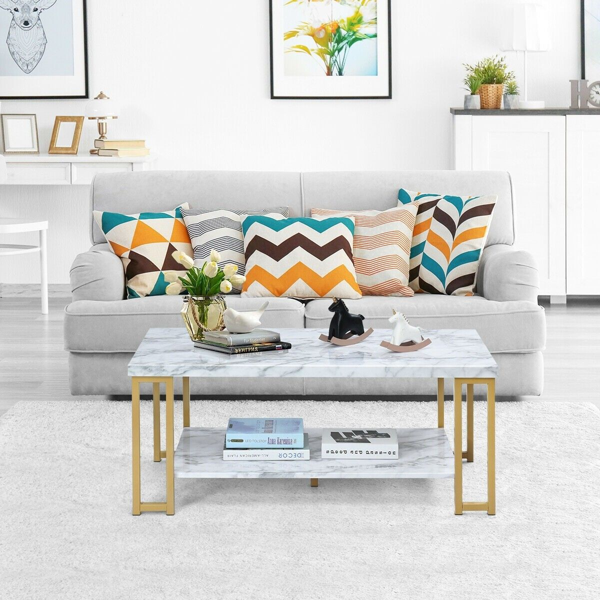 2tier modern coffee table rectangular accent furniture