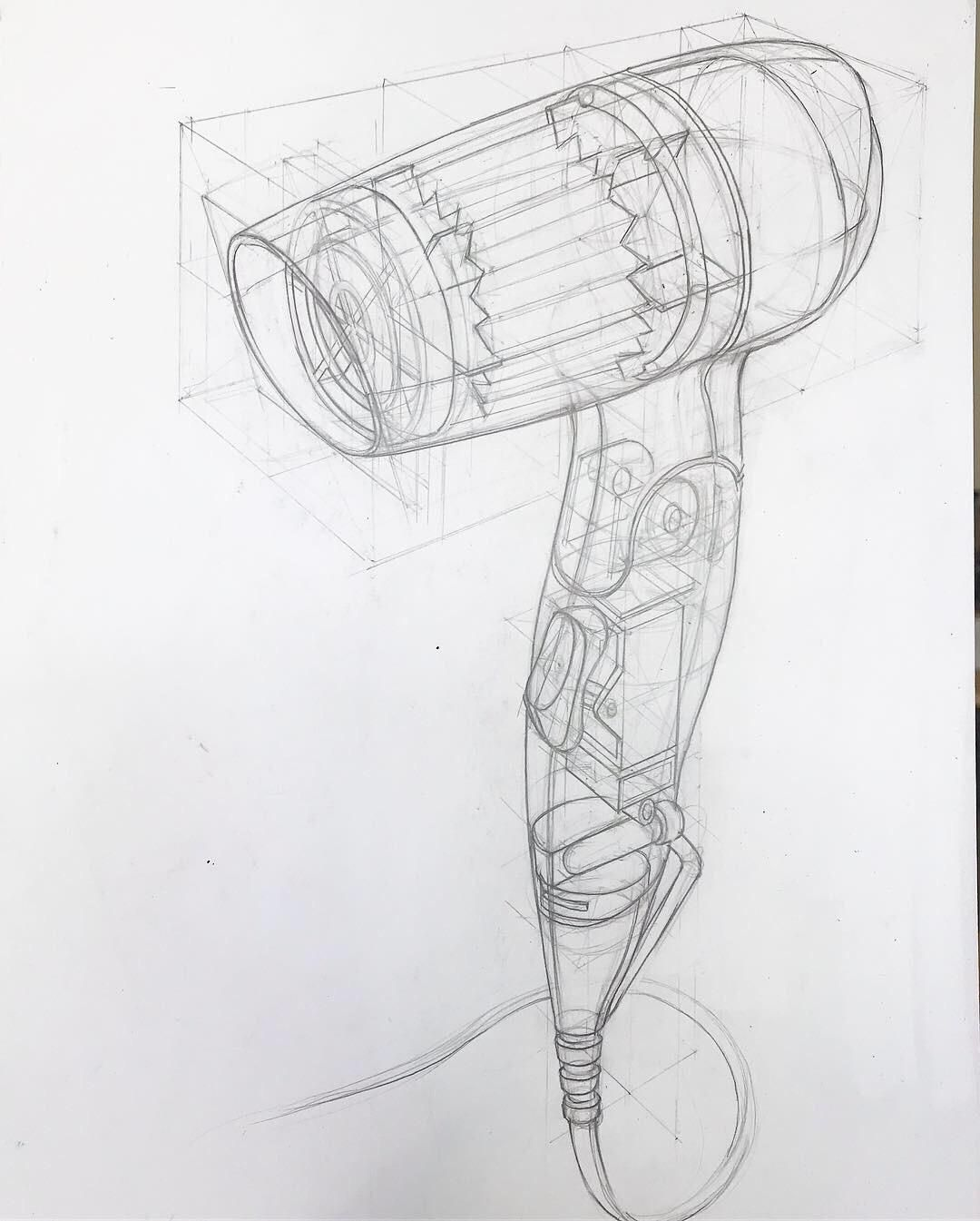 Technical Sketch Of A Hairdryer Drawing Industrial Design Sketch Drawings Conceptual Sketches