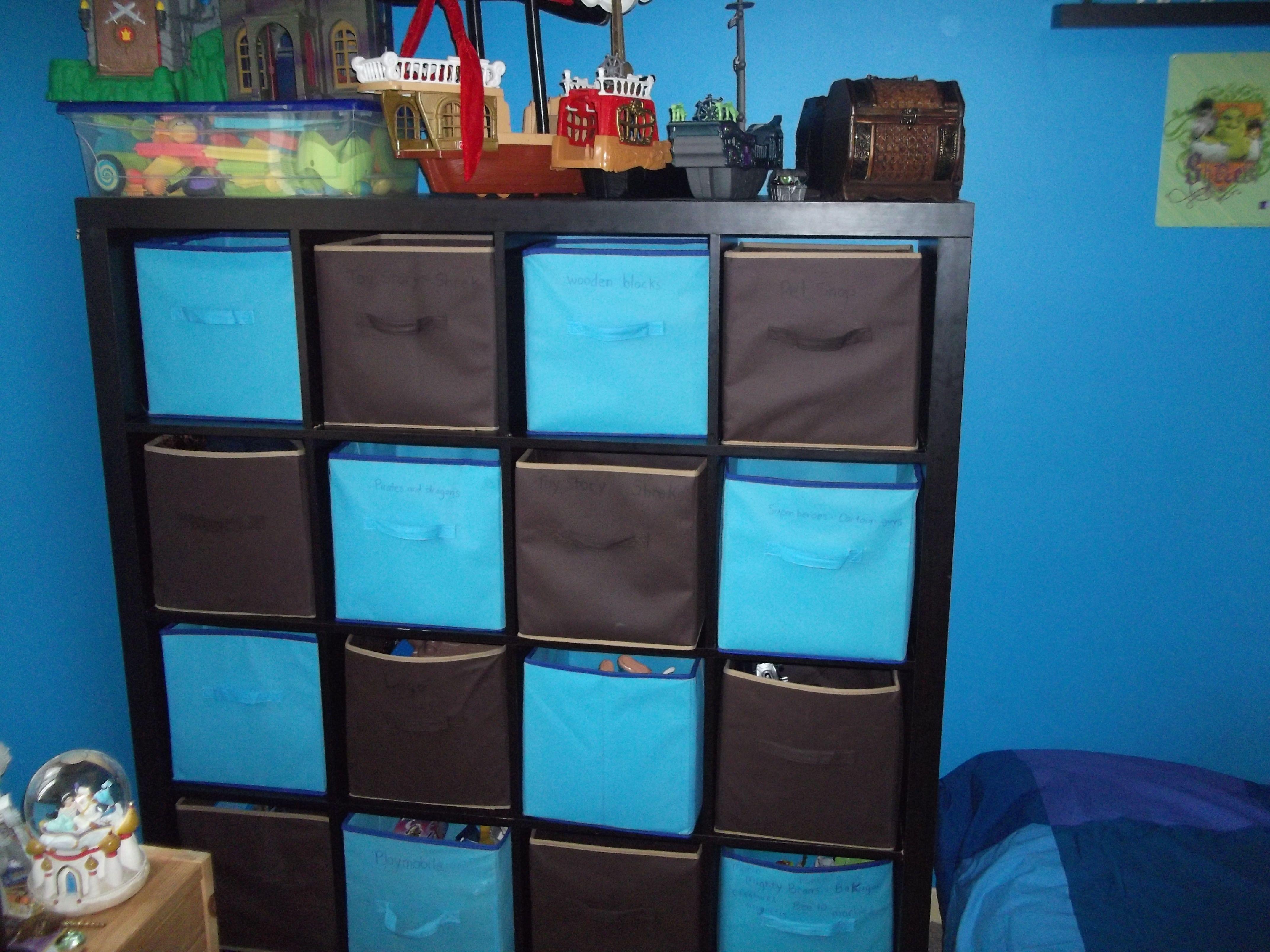 IKEA shelf with fabric cubes from Dollarama!
