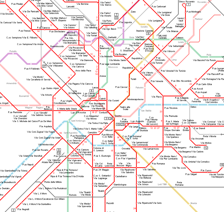 Milan Tram System Map Of Italy Interesting Maps of Italy