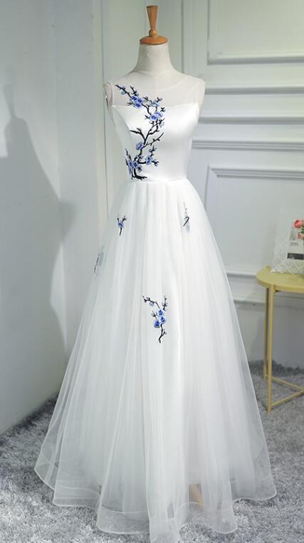 Elegant White Prom Dresses, Tulle Long Formal Dress, New Prom Dress 2018, Lace-Up Evening Dresses