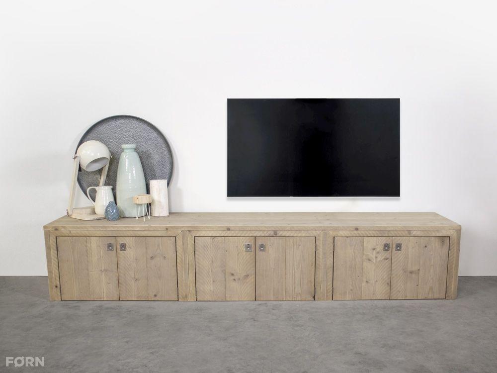 Prachtig Tv Meubel.Steigerhouten Tv Meubel Met Deuren Elzas Op Maat Gemaakt Tv
