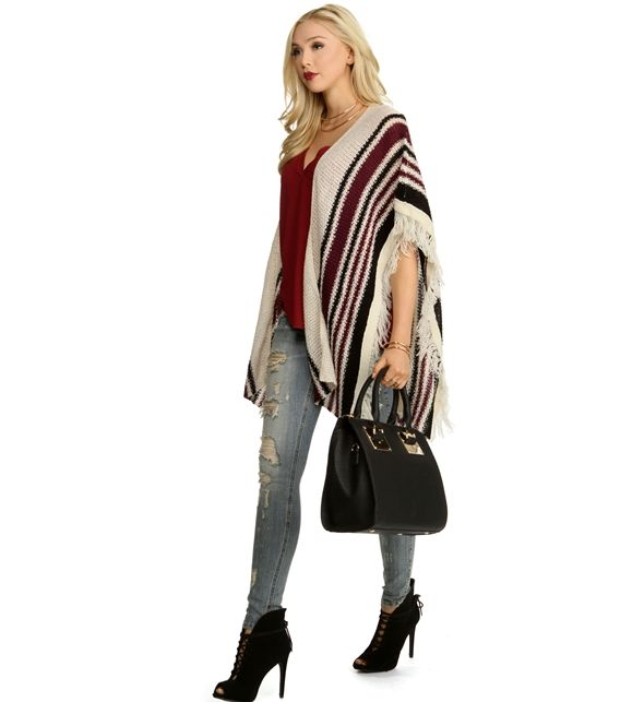 Natural Boho Striped Poncho at WindsorStore