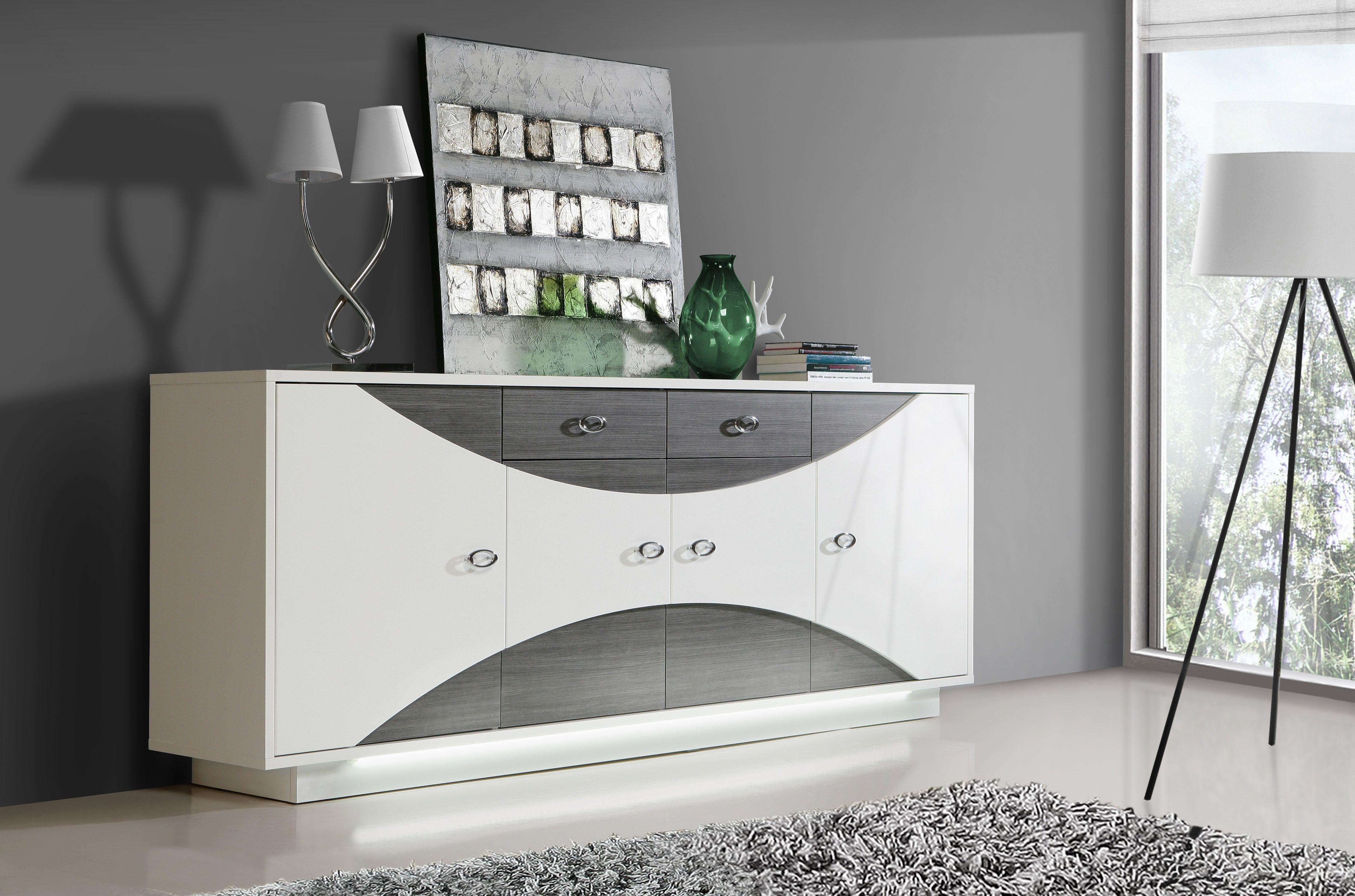 Großartig Sideboard Grau Weiß Referenz Von Weiss Hochglanz/ Eiche Mit Beleuchtung Woody 77-00993
