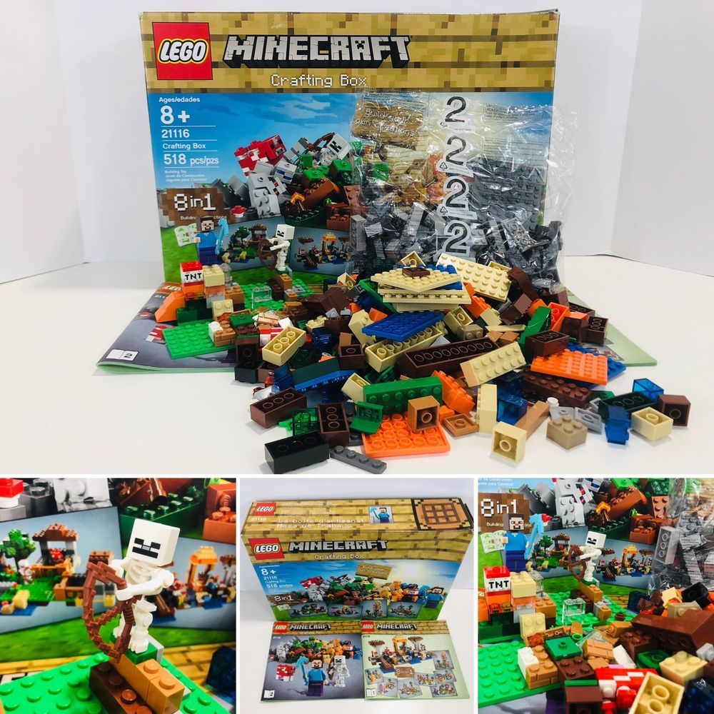 Lego Minecraft Lot First Night Desert Outpost Ender Dragon And Crafting Box Ebay Craft Box Crafts Toy Store
