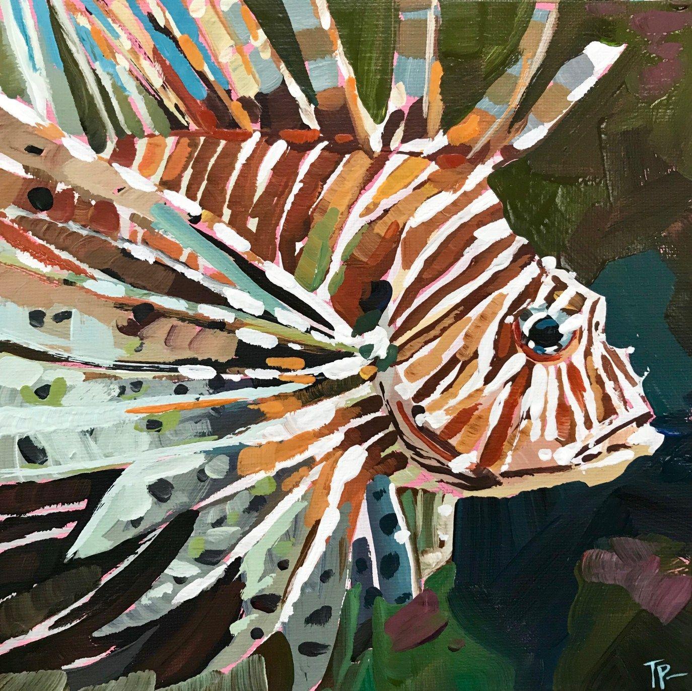 Teddi Parker Artist Lion Fish Watercolor Lion Fine Art
