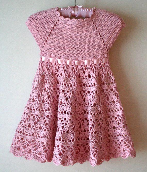 Pink Lace Dress Crochet Pattern Flower Girl Dress Pink Etsy Crochet Toddler Dress Crochet Dress Pattern Crochet Baby Dress