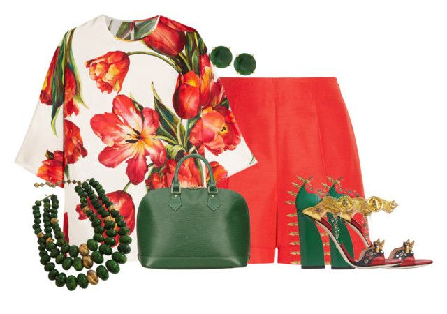 """""""Red Green and White"""" by kimzarad1 ❤ liked on Polyvore featuring Oscar de la Renta, Dolce&Gabbana, Gucci, Louis Vuitton, Panacea and Castlecliff"""