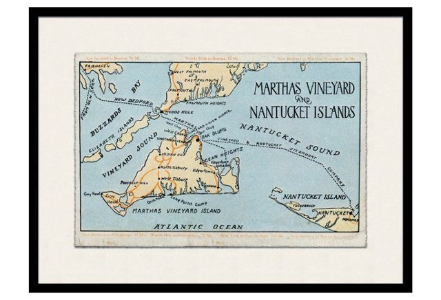 Love The Vintage Feel Of This Black Framed Martha S Vineyard Map