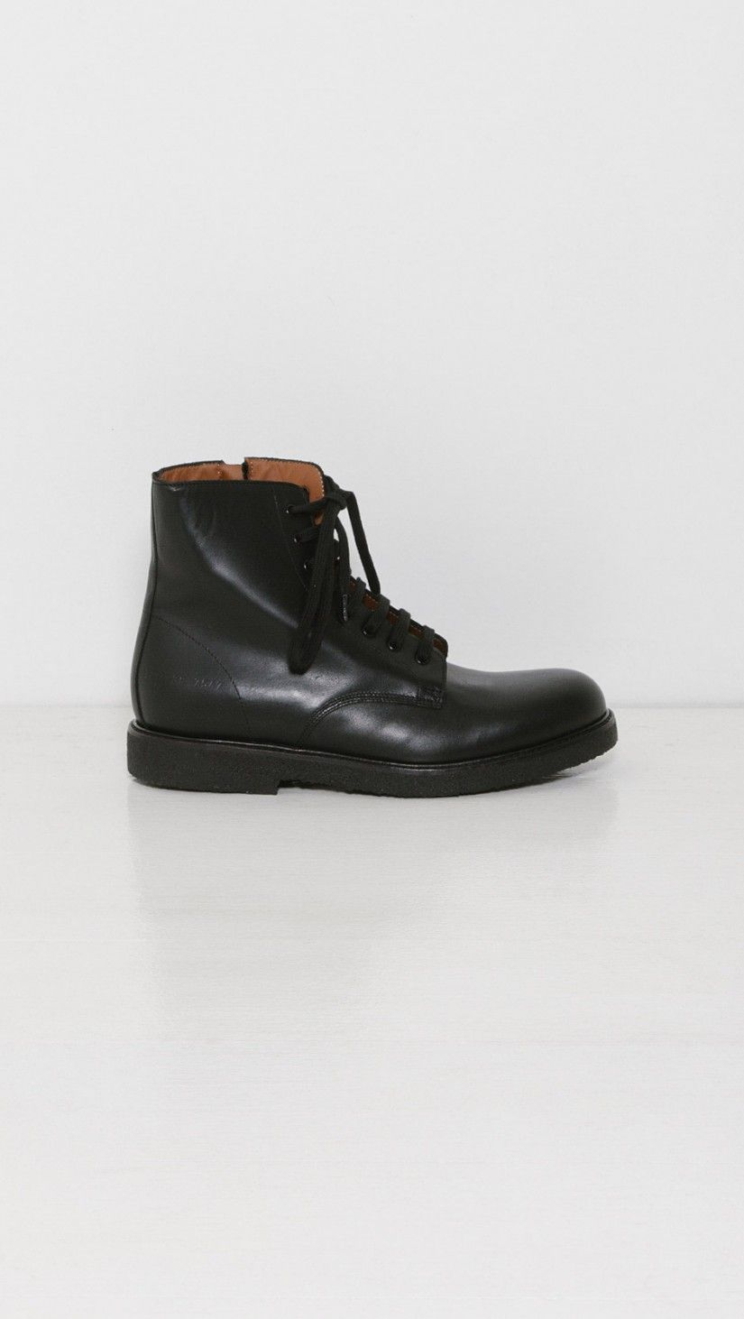 Woman By Common Projects Combat Boots in Black | The Dreslyn