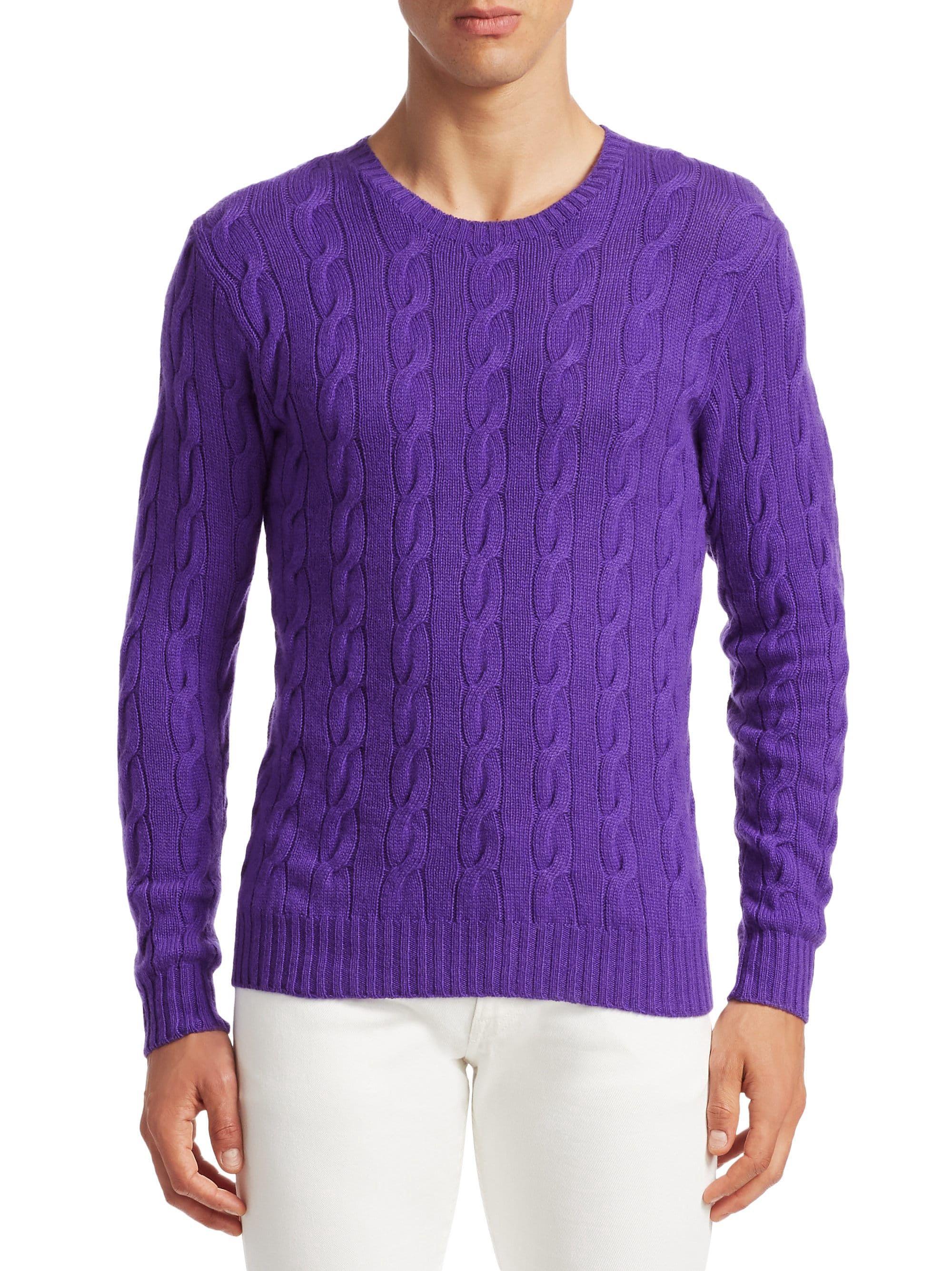 1d19e86152 Ralph Lauren Cable Knit Cashmere Sweater - Classic Violet Large in ...