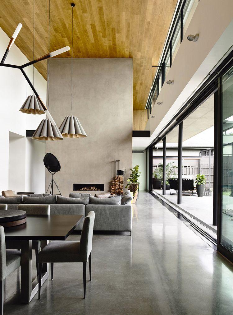 open floor plan - concrete/plaster fireplace, love lighting