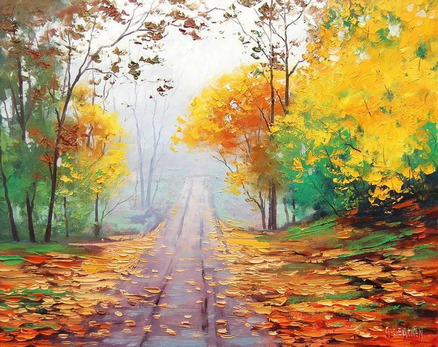 Coloridos cuadros de paisajes con caminos pinturas en leo for Ver colores de pintura