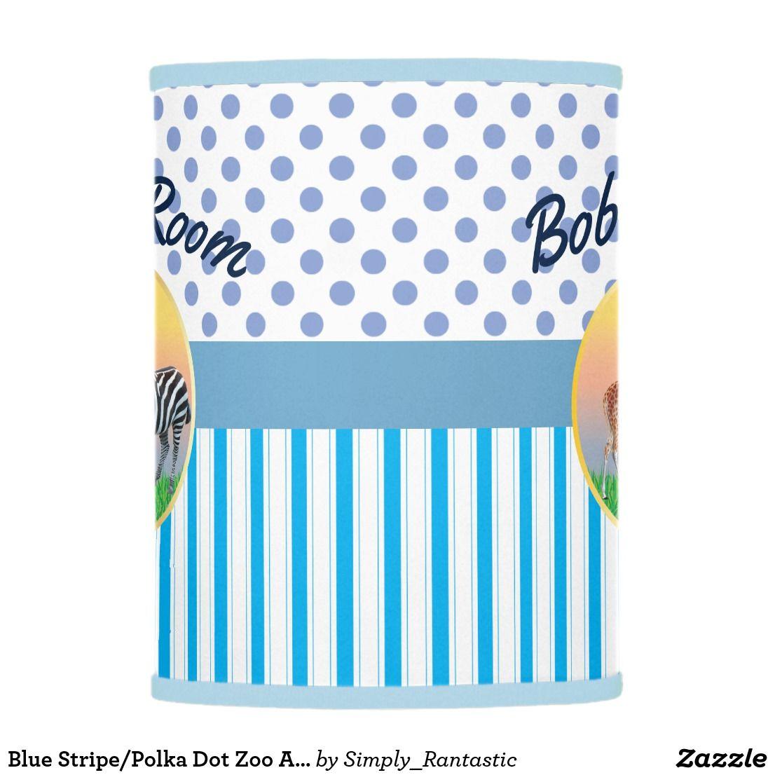 Blue Stripe/Polka Dot Zoo Animal Boys Room