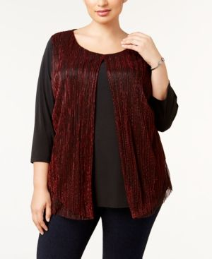 abab12e0558 Ny Collection Plus Size Layered-Look Metallic Top - Red 1X ...
