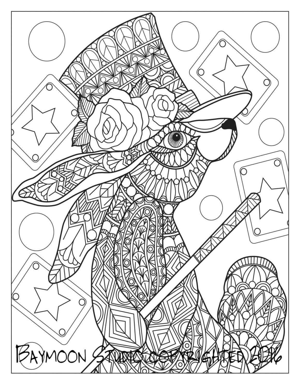 Magia conejo para colorear página del conejo por BAYMOONSTUDIO ...